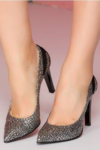Pantofi Beatrice negri cu aplicatii argintii