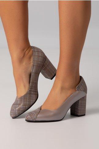 Pantofi bej cenusii cu imprimeuri lucioase