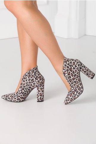 Pantofi bej cu animal print maro