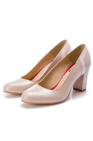 Pantofi bej cu imprimeu pastelat la spate si pe toc