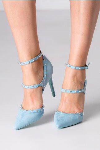 Pantofi bleu cu bareta si aplicatii metalice