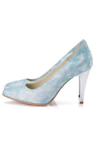 Pantofi bleu sidefat cu reflexii