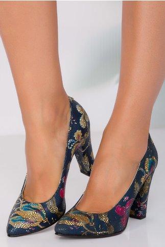 Pantofi bleumarin cu imprimeuri florare pe toata suprafata