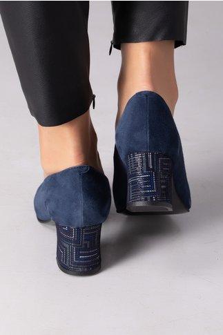 Pantofi bleumarin cu insertii pe toc si fundita in fata