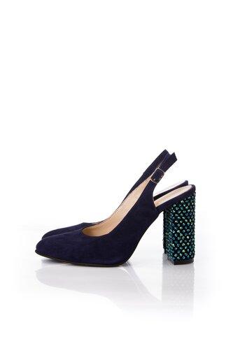 Pantofi bleumarin din piele intoarsa cu sfere 3D pe toc