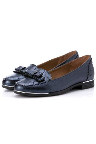 Pantofi bleumarin metalizat cu detalii metalizate la talpa
