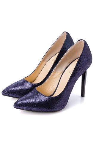 Pantofi bleumarin stiletto cu reflexii stralucitoare