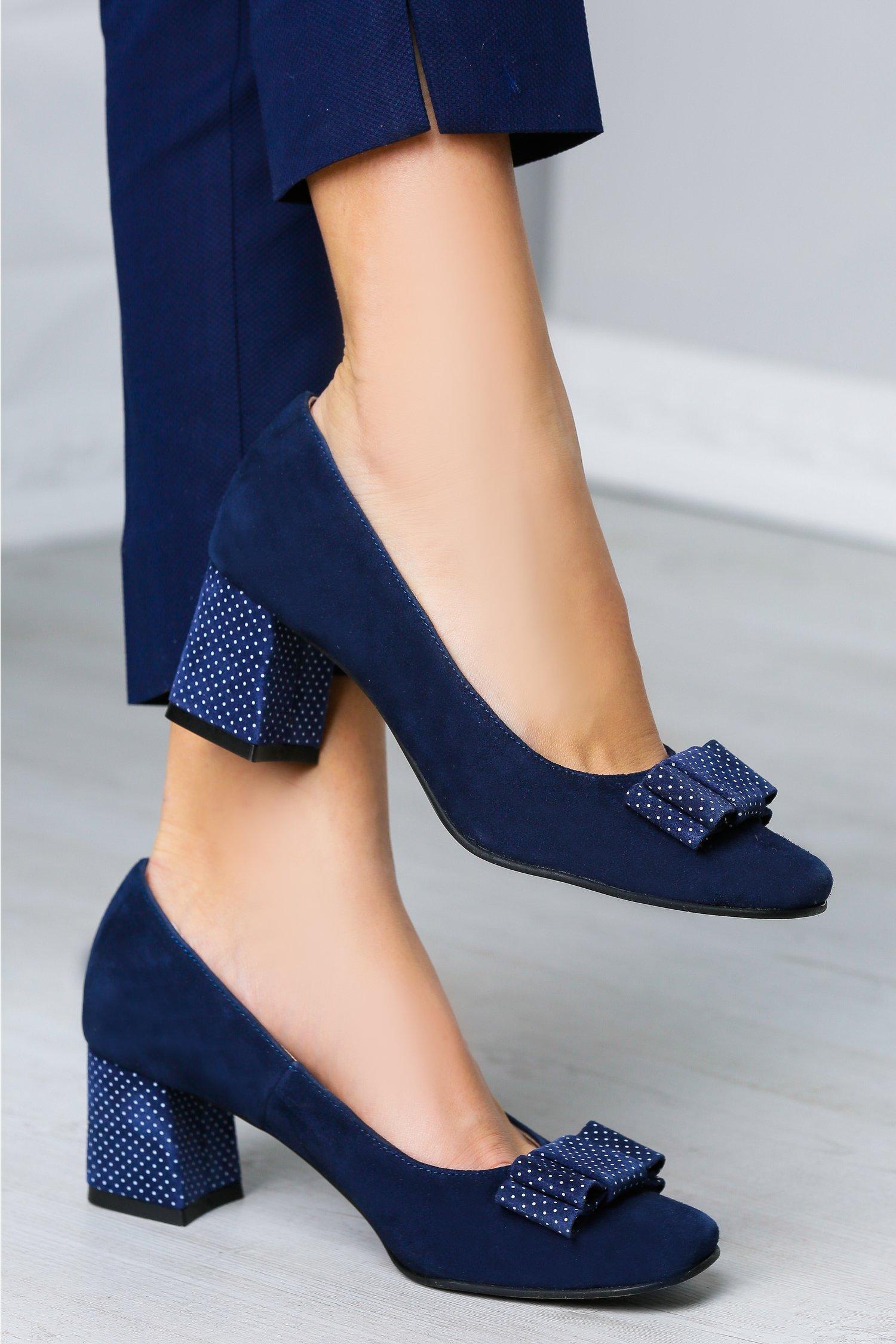 Pantofi Bluma bleumarin cu funda si buline