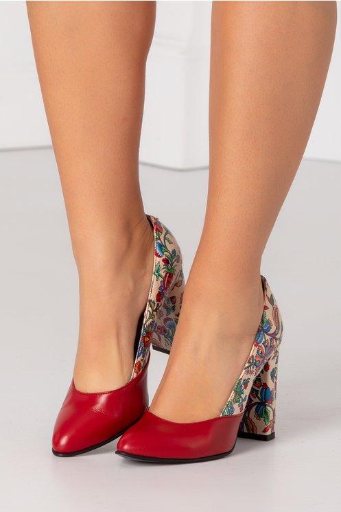 Pantofi bordo cu bej si imprimeuri florale
