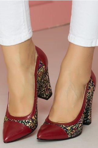 Pantofi bordo cu imprimeu floral cu varf ascutit
