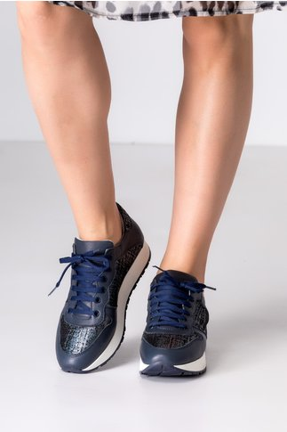 Pantofi casual bleumarin cu detalii in nuanta metalizat