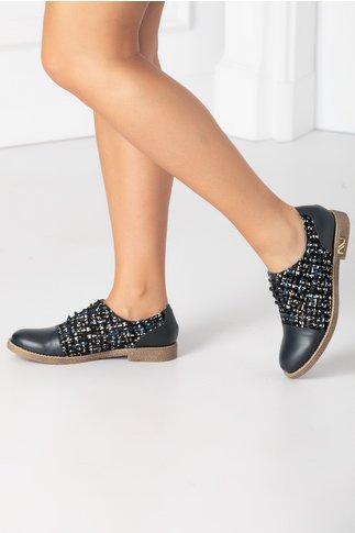 Pantofi casual bleumarin cu imprimeu abstract si talpa bej