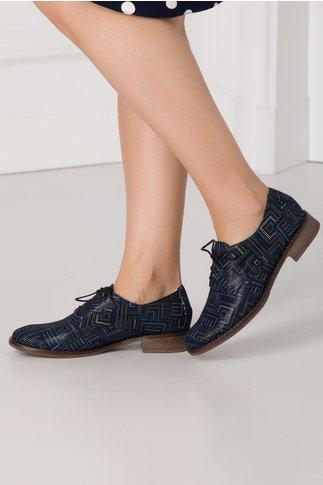 Pantofi casual bleumarin cu imprimeuri geometrice