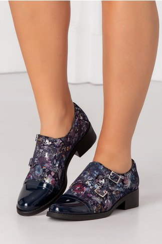 Pantofi casual bleumarin cu varful lacuit si imprimeu cu sclipici