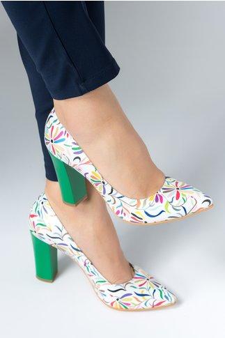 Pantofi Ceren albi cu imprimeuri florale