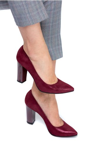 Pantofi Ceren bordo sidef de ocazie