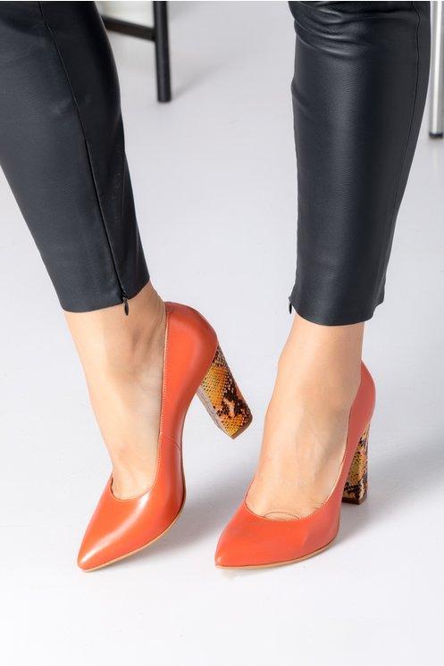 Pantofi Ceren corai cu toc tip piele de sarpe