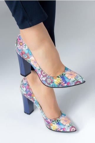 Pantofi Ceren mov cu imprimeuri florale