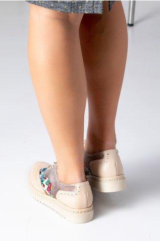 Pantofi Cezara bej cu imprimeu floral