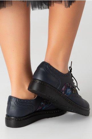 Pantofi Cezara bleumarin cu imprimeu floral
