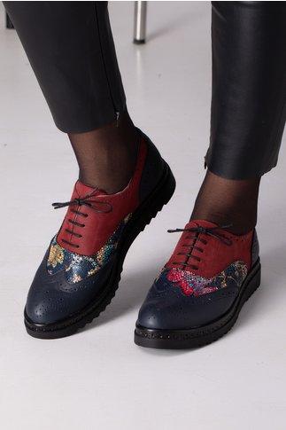 Pantofi Cezara bleumarin visiniu cu imprimeu
