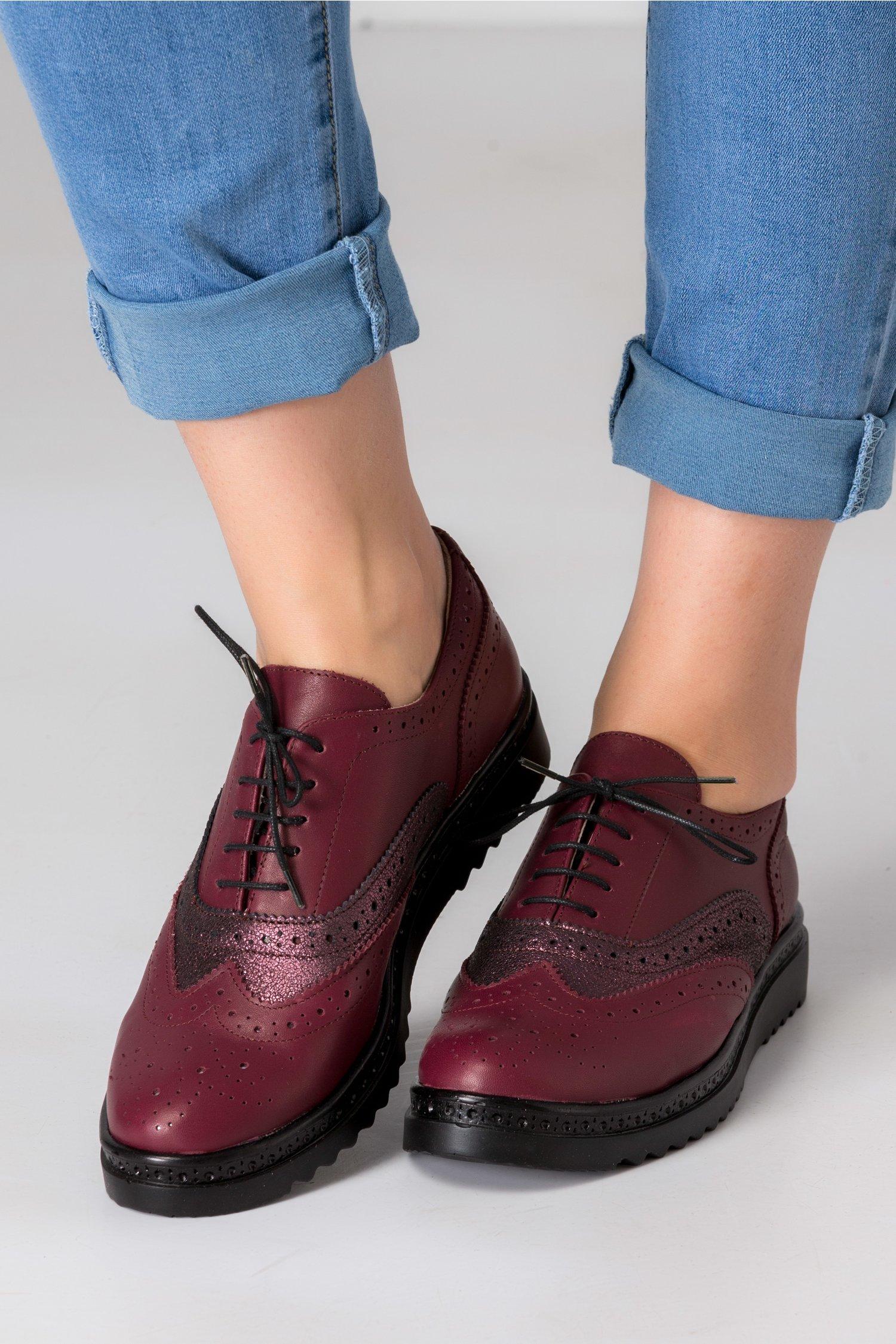 Pantofi Cezara bordo cu detalii sidefate