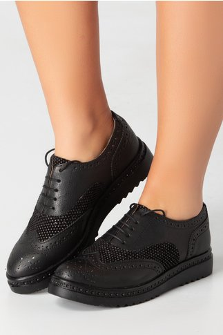 Pantofi Cezara negri cu detalii argintii