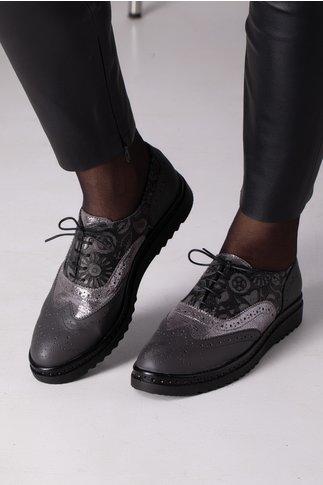 Pantofi Cezara silver imprimat