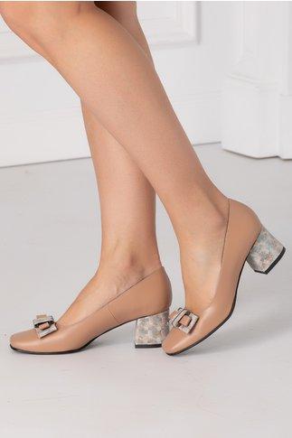 Pantofi crem cu fundita si imprimeu