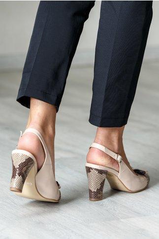 Pantofi crem eleganti cu insertii tip plasa si fundita