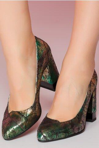 Pantofi cu imprimeu metalizat verde cu toc gros si decupaj in fata