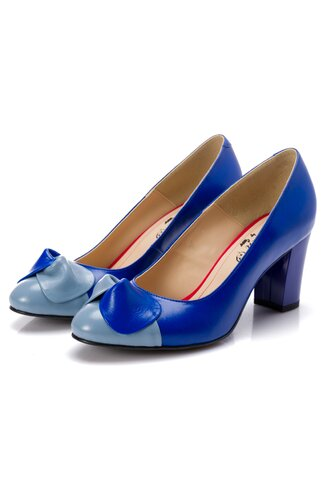 Pantofi dama albastri cu funda bleu