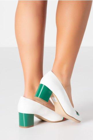 Pantofi dama albi cu aplicatie si toc verde
