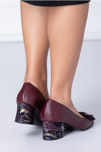 Pantofi dama bordo cu funda si detalii florale