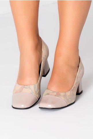 Pantofi dama capucino cu imprimeuri