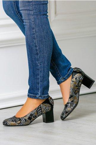 Pantofi dama cu imprimeu auriu si funda calcai