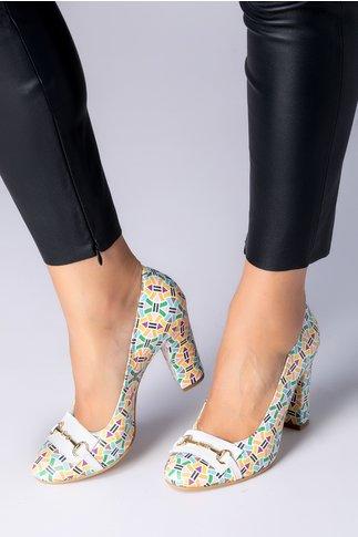 Pantofi dama cu imprimeu multicolor