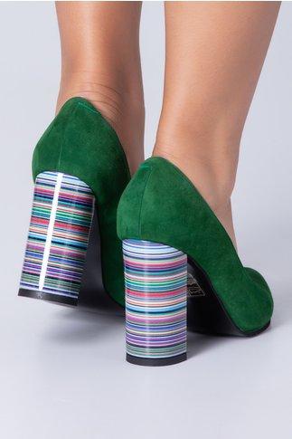 Pantofi dama din piele intoarsa verzi cu dungi colorate pe toc
