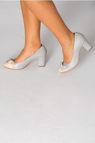 Pantofi dama gri cu funda gri-crem