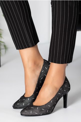 Pantofi dama gri cu insertii argintii