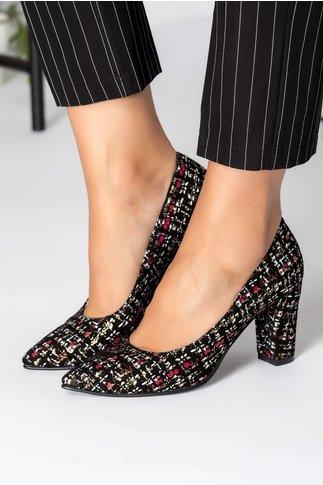 Pantofi dama neagrii din piele intoarsa cu insertii aurii
