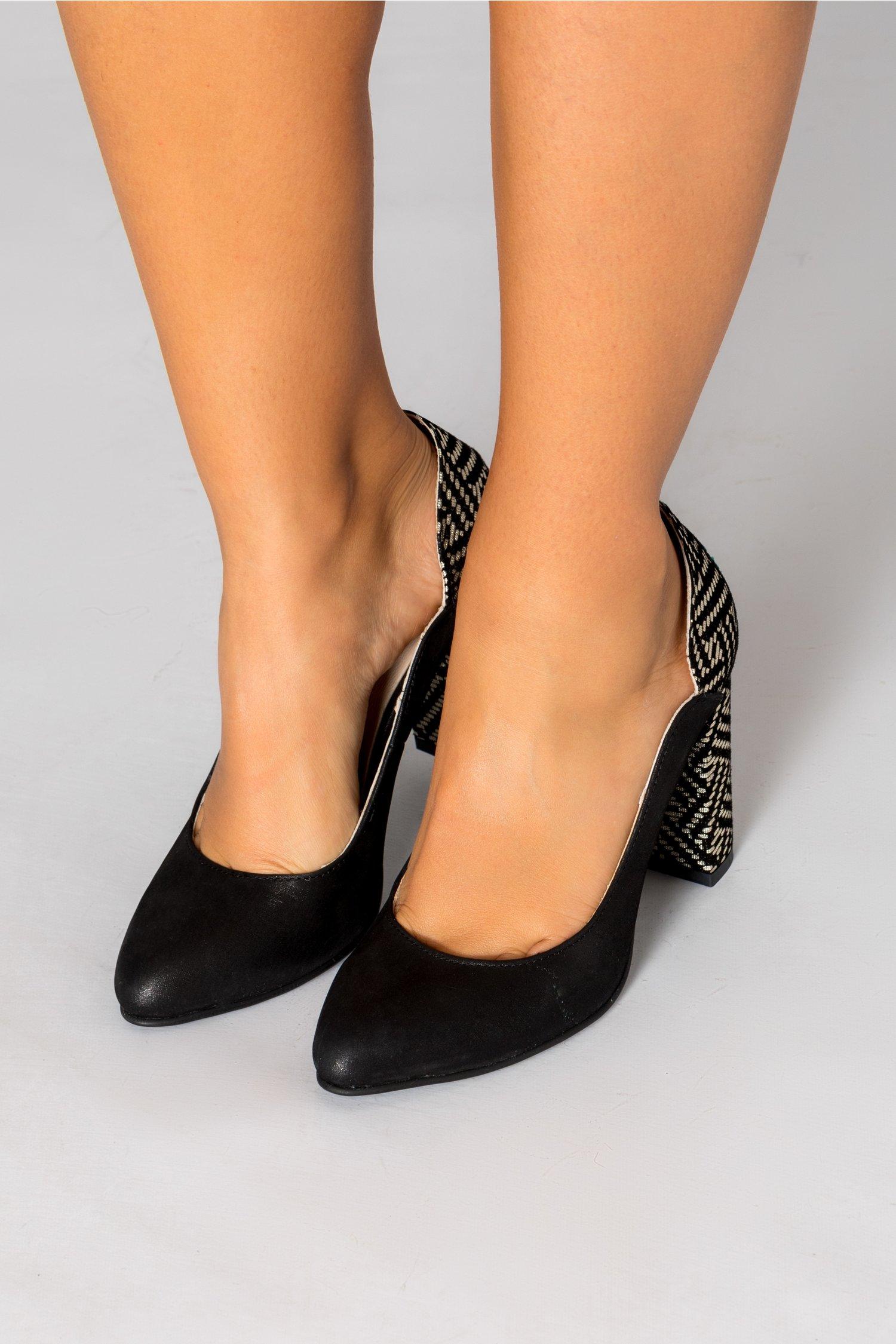 Pantofi dama negrii cu detalii argintii pe toc