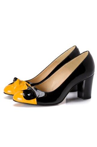 Pantofi dama negri cu funda galbena
