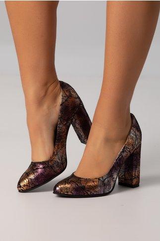 Pantofi dama negri cu imprimeuri abstracte mov metalizate
