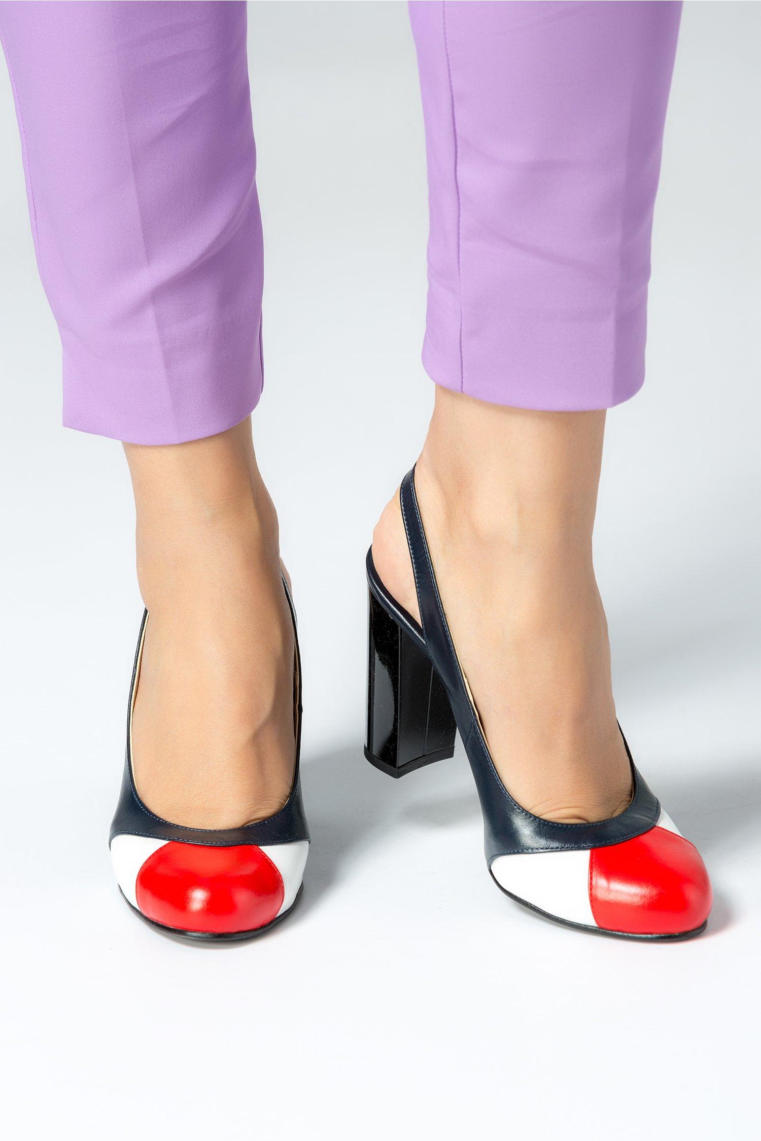 Pantofi dama negrii cu rosu si alb