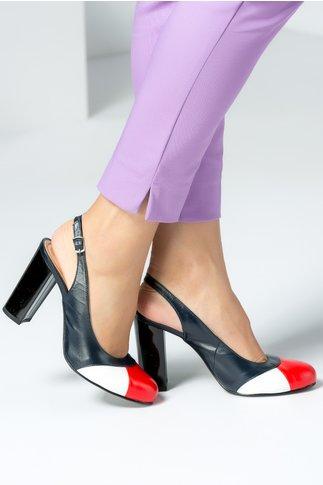 Pantofi dama negri cu rosu si alb