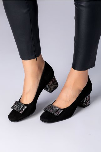 Pantofi dama negri din piele intoarsa cu imprimeuri argintii