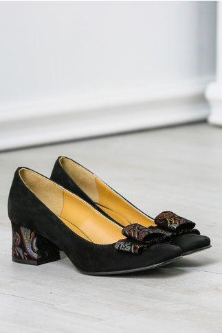 Pantofi dama negri din piele naturala office cu imprimeu