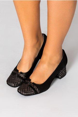 Pantofi dama negrii cu insertii arginti