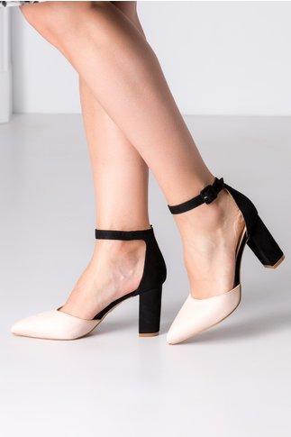 Pantofi dama negru si bej cu bareta